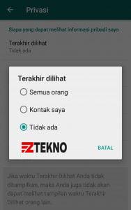 Cara menyembunyikan Status Online WhatsApp di android