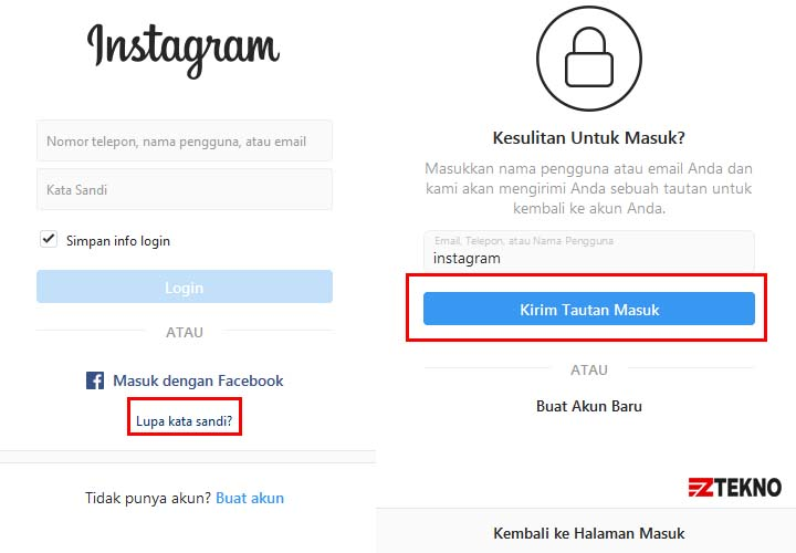Lupa Password Instagram di Laptop Komputer
