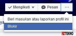 cara blokir orang di Facebook