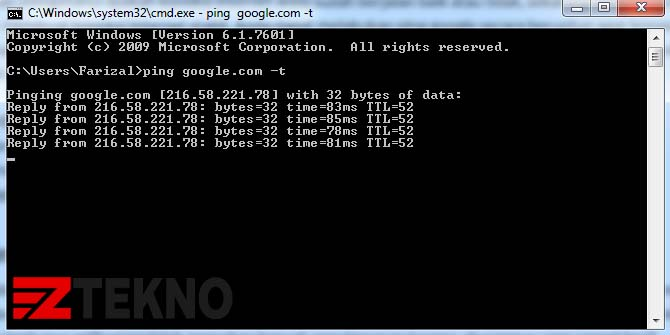 cara ping google cmd