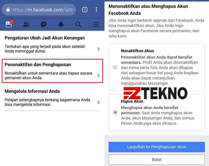 Cara Menghapus Akun Facebook di HP Android