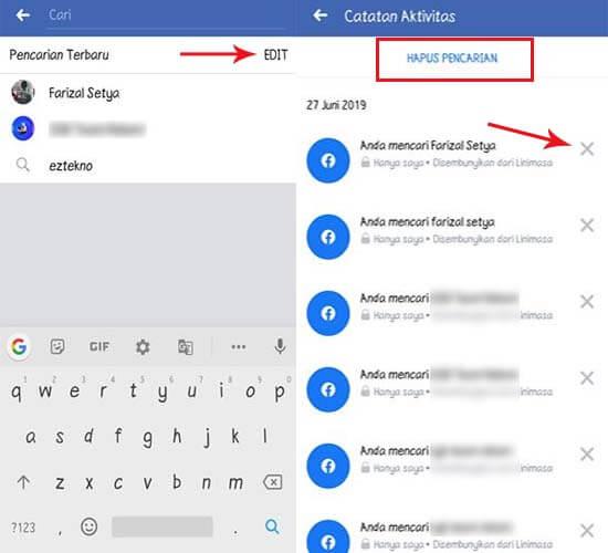 cara membersihkan riwayat pencarian di Facebook