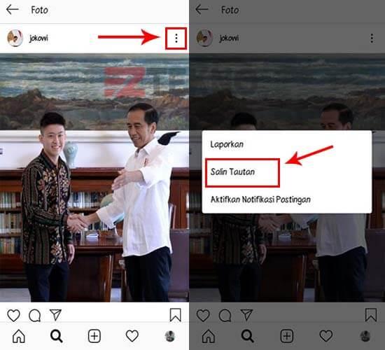 Cara Copy Link Foto Instagram