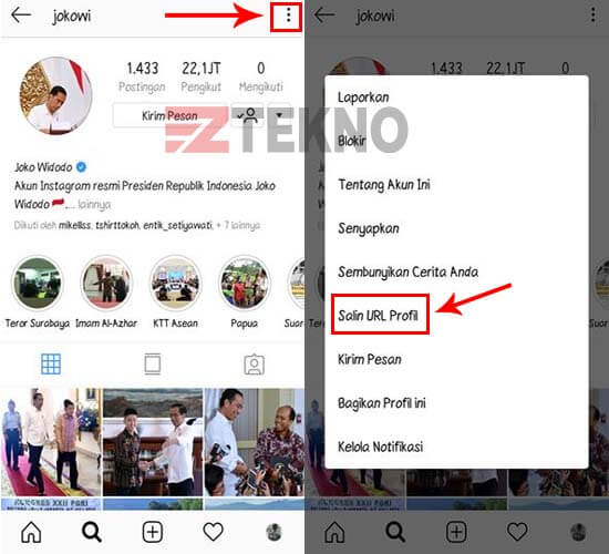 Cara Copy Link Profil Instagram