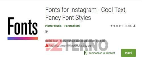 cara mengganti font instastory