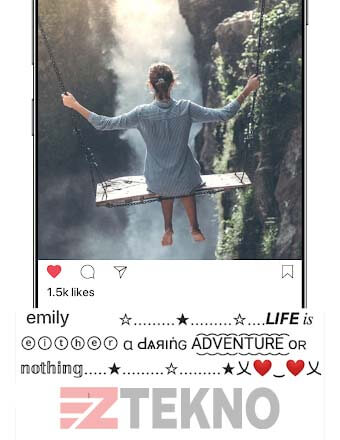 cara mengubah font postingan instagram