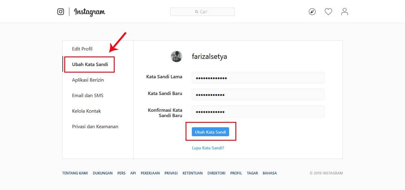 cara ubah password ig