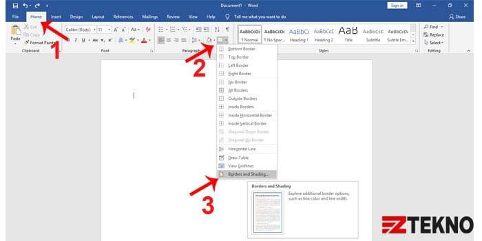Cara Membuat Garis Kotak di MS Word