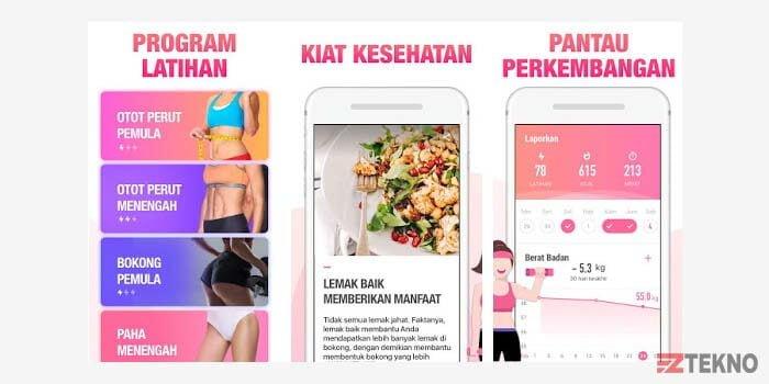 aplikasi fitness wanita di hp android