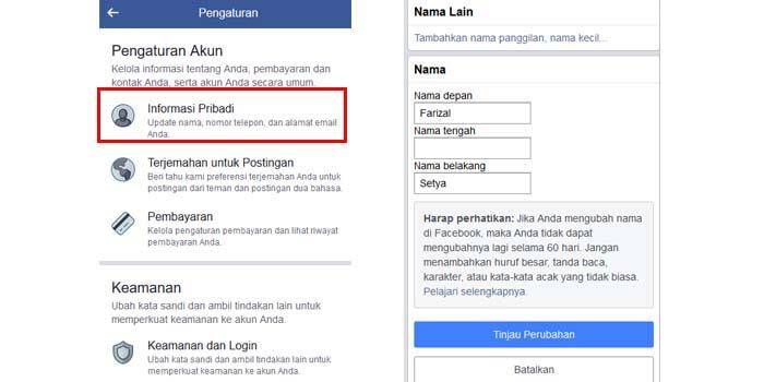 Cara Mengubah Username Facebook di HP Android