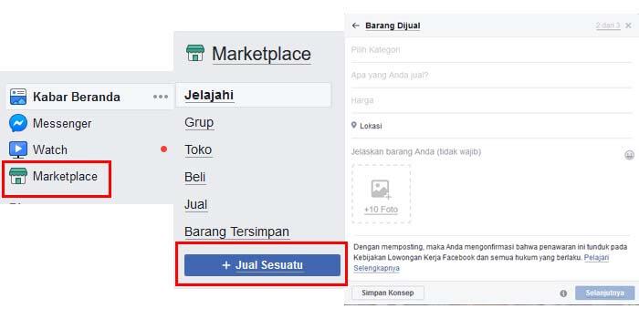 Cara Berjualan di Marketplace Facebook PC