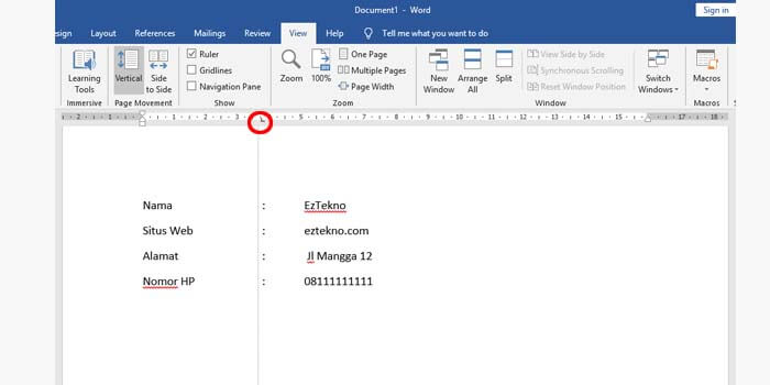Cara Membuat Lurus Titik Dua Microsoft Word