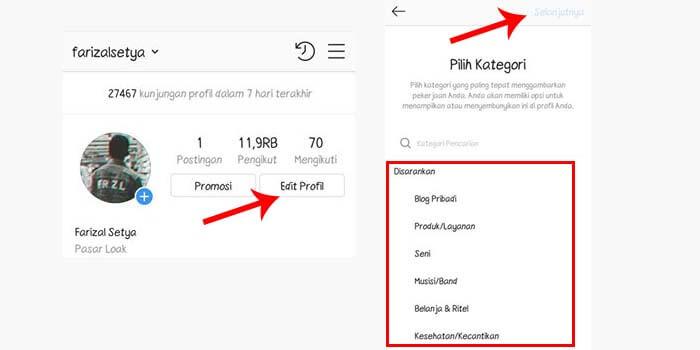 Cara Mengganti Kategori Blog Pribadi Instagram