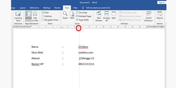 cara membuat titik dua sejajar di ms word