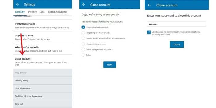 cara menghapus akun LinkedIn di hp