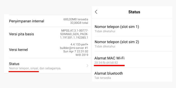 Cara melihat MAC Address di HP Android