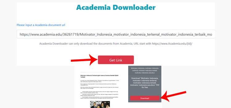 Download Dokumen di Academia pakai Generator