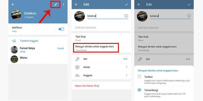Mengatur Riwayat Chat Grup Telegram
