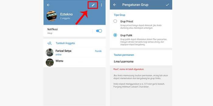 Mengubah Privasi Grup Telegram