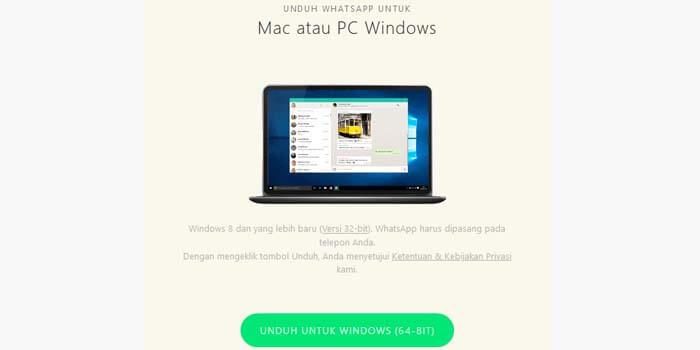 cara buka wa di laptop pc