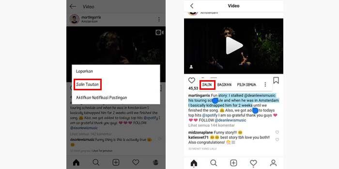 cara copy paste caption postingan orang di instagram