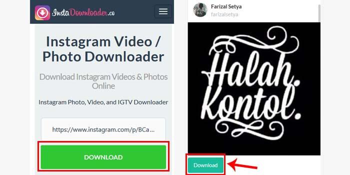 cara download foto dari ig online