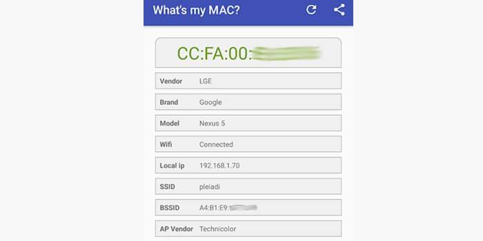 mengecek mac address hp