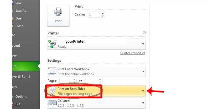 Print dua sisi di Excel