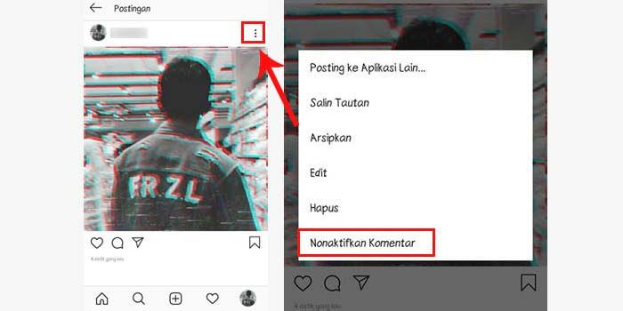 Cara menonaktifkan komentar postingan instagram