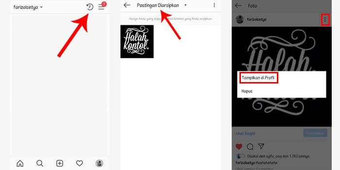 cara mengembalikan foto instagram arsip