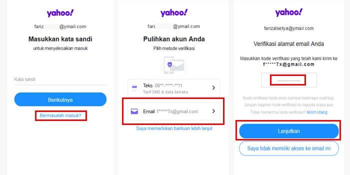 cara reset kata sandi akun yahoo dengan email pemulihan