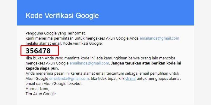 kode verifikasi google