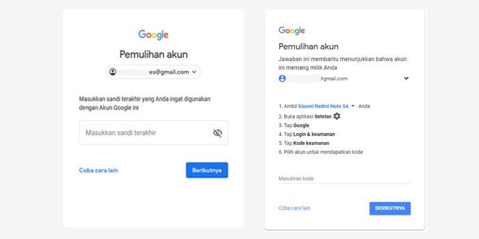 mengatasi lupa kata sandi google