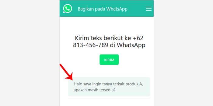 Cara Buat Link WhatsApp dengan Text