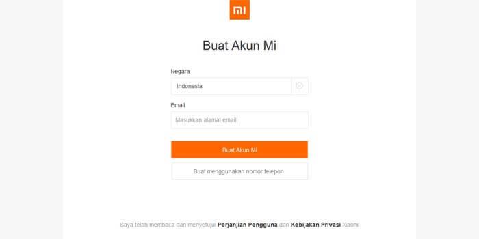Cara buat akun Mi di web Xiaomi