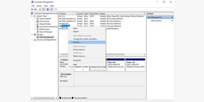 Format Flashdisk dengan Disk Management