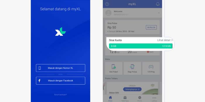 Cara cek kuota xl di aplikasi MyXL