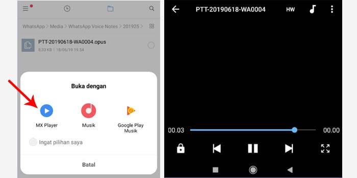 cara memutar voice note opus dari WhatsApp