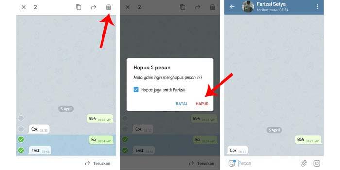 cara hapus chat di telegram