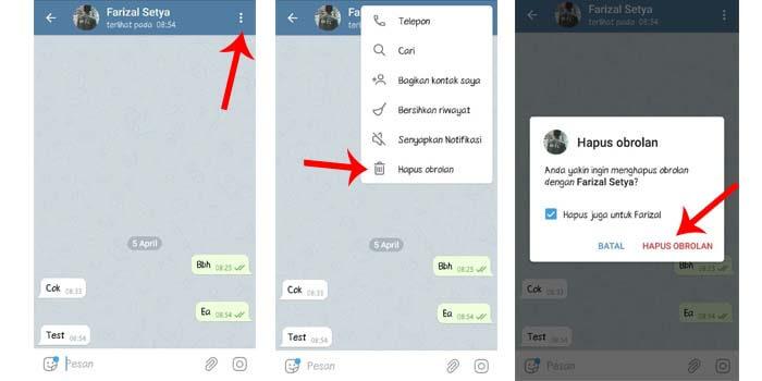 cara menghapus semua chat di telegram