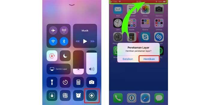 cara screen recording iphone
