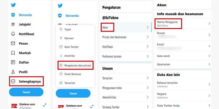 cara ubah username twitter di pc