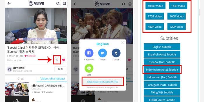 cara download video v live dan subtitle indonesia