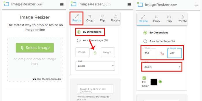 cara mengubah ukuran foto 3x4 online