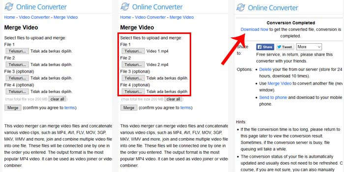 cara menggabungkan video online gratis