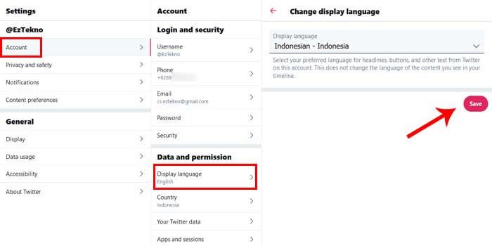 ganti bahasa inggris ke indonesia