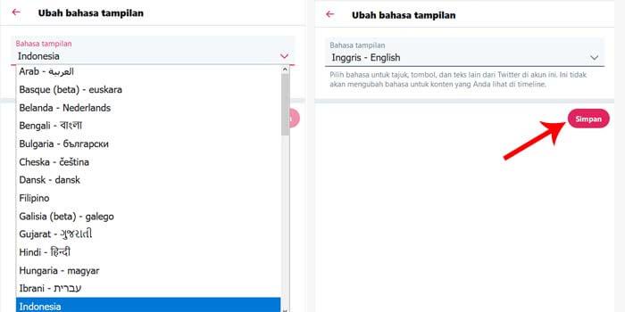 cara ubah bahasa di twitter