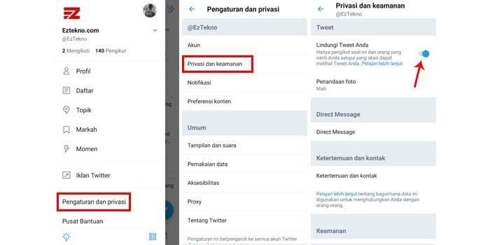 cara mengunci akun twitter di iphone dan android