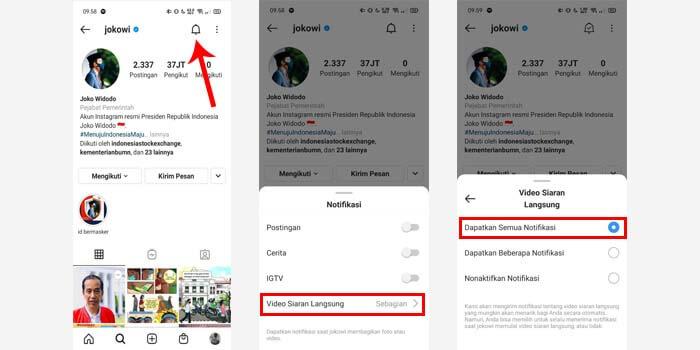 cara mengaktifkan notifikasi live instagram orang