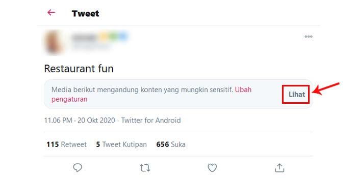cara melihat konten sensitif di twitter